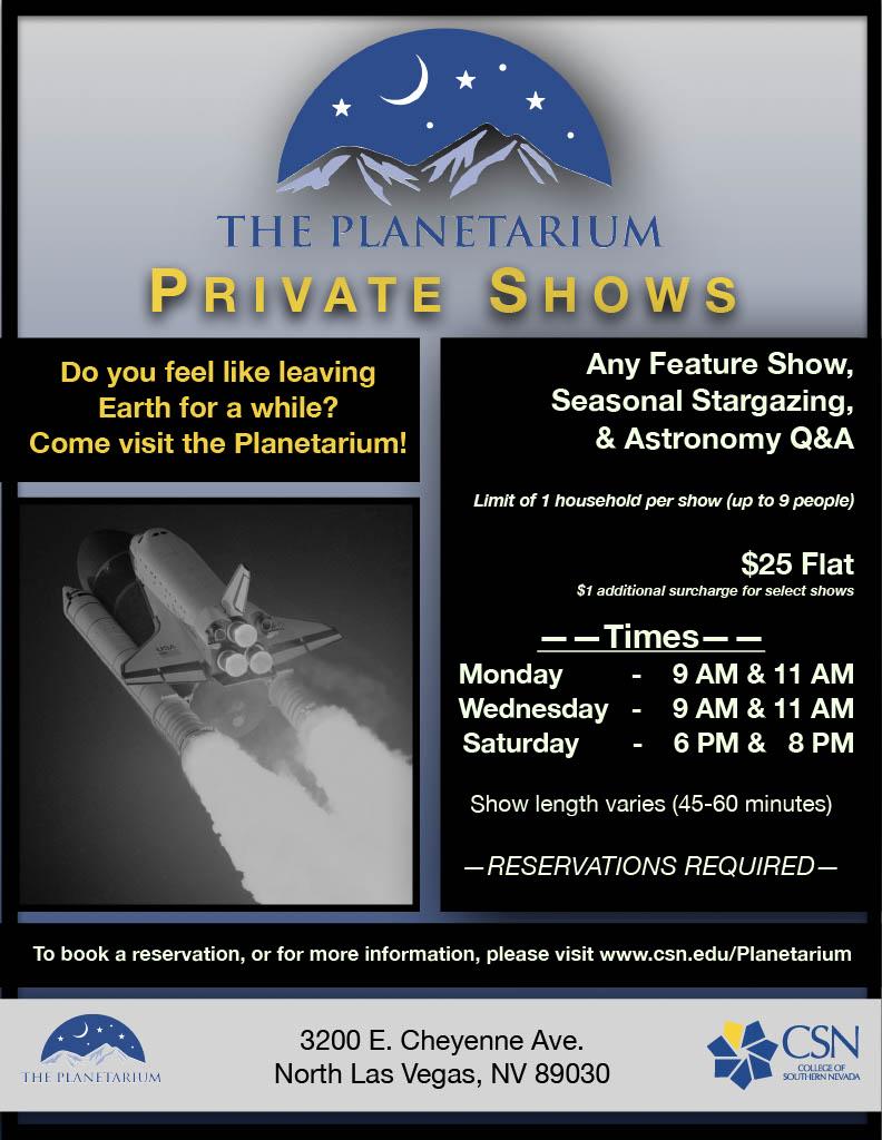 Planetarium Private Show Information Flyer