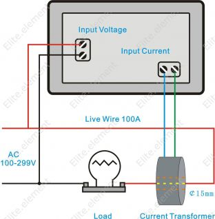 digital ac 300v 50a current voltage ammeter combo meter. Black Bedroom Furniture Sets. Home Design Ideas