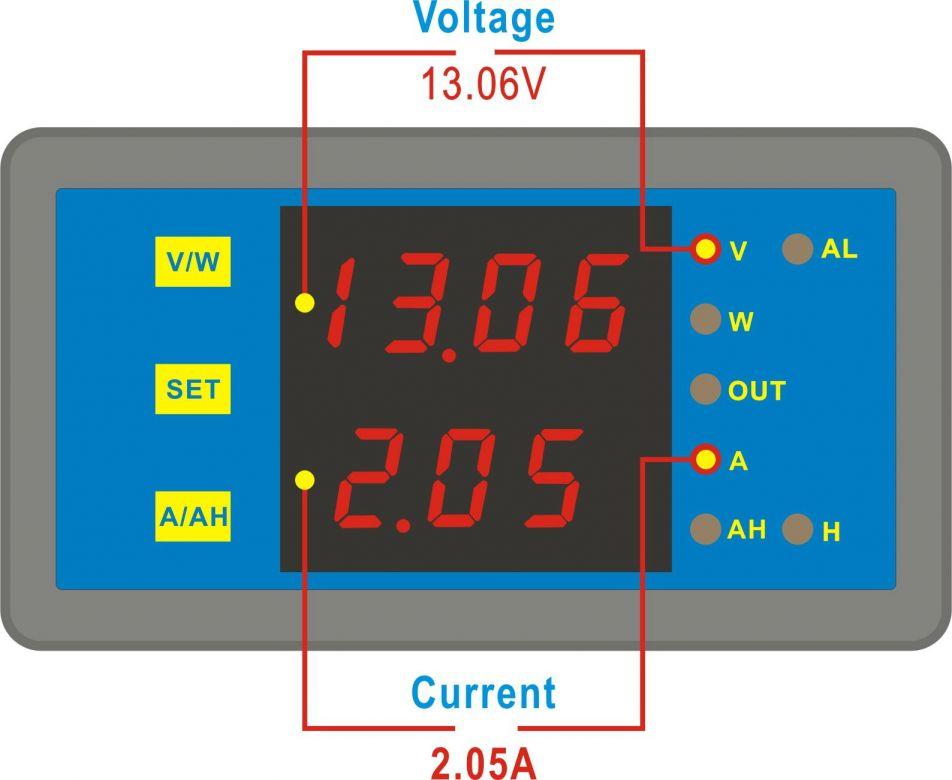 Programmable Hour Meter : Programmable digital dual display v a combo meter
