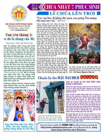 BẢN TIN CỘNG ĐOÀN CHÚA NHẬT TUẦN VII PHỤC SINH LỄ CHÚA LÊN TRỜI 24-05-2020