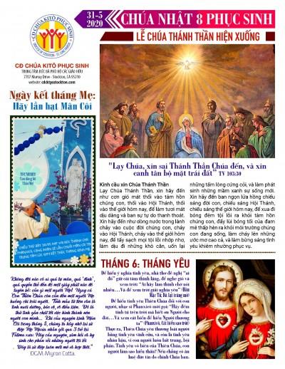 BẢN TIN CỘNG ĐOÀN CHÚA NHẬT TUẦN VIII PHỤC SINH LỄ HIỆN XUỐNG 31-05-2020
