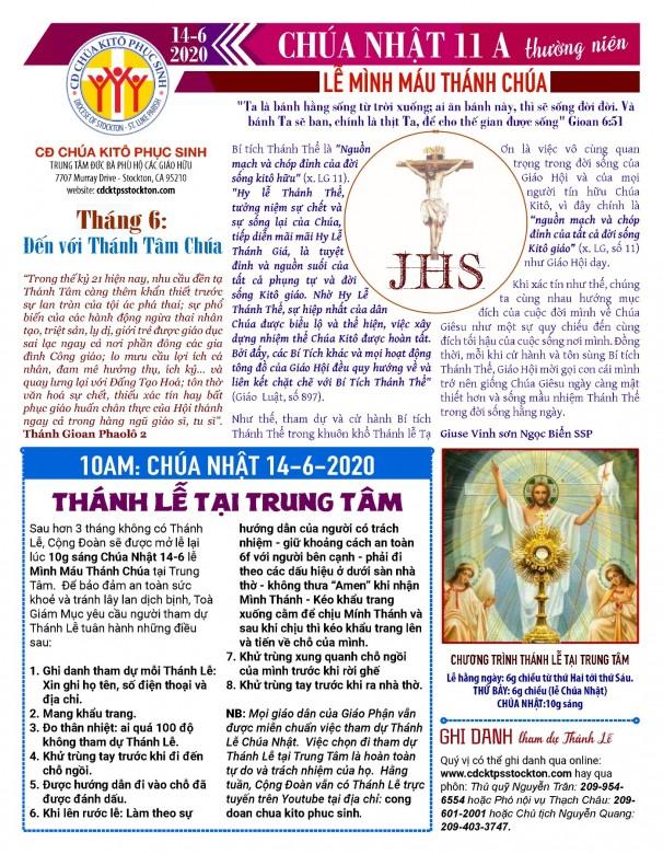 BẢN TIN CỘNG ĐOÀN CHÚA NHẬT TUẦN XI THƯỜNG NIÊN MINH MÁU THÁNH CHÚA 14-06-2020