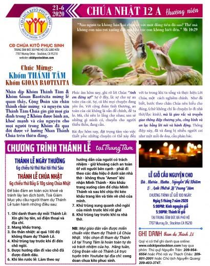 BẢN TIN CỘNG ĐOÀN CHÚA NHẬT TUẦN XII THƯỜNG NIÊN NĂM A 21-06-2020