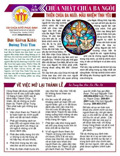 BẢN TIN CỘNG ĐOÀN CHÚA NHẬT TUẦN X THƯỜNG NIÊN LỄ CHÚA BA NGÔI 07-06-2020