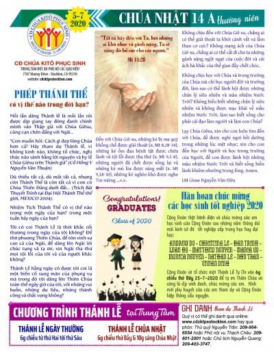 BẢN TIN CỘNG ĐOÀN CHÚA NHẬT TUẦN XIV THƯỜNG NIÊN NĂM A 05-07-2020