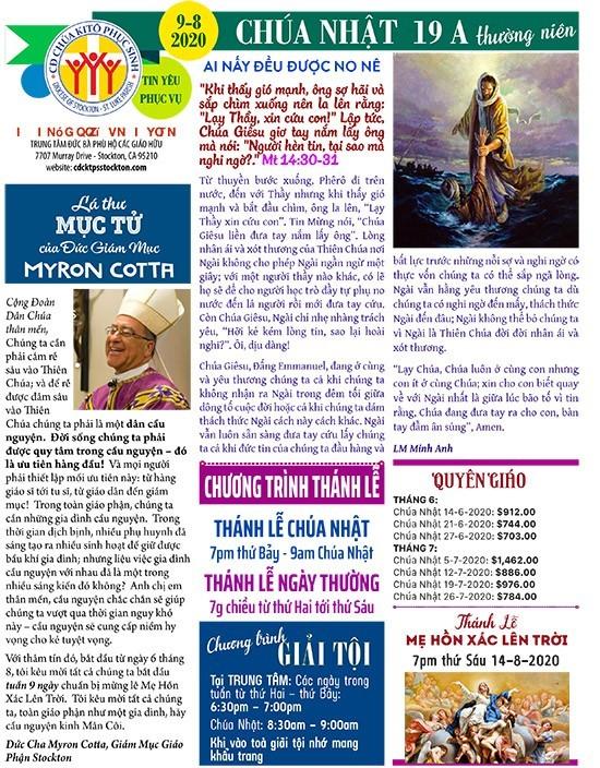 BẢN TIN CỘNG ĐOÀN CHÚA NHẬT TUẦN XIX THƯỜNG NIÊN NĂM A 09-08-2020