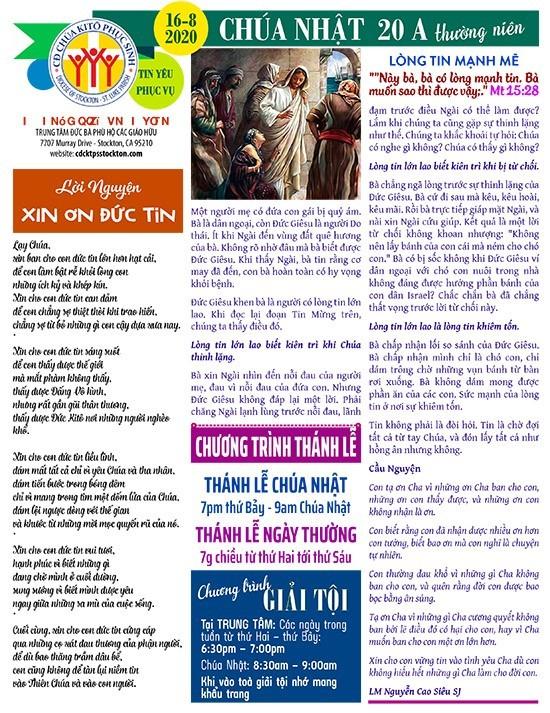 BẢN TIN CỘNG ĐOÀN CHÚA NHẬT TUẦN XX THƯỜNG NIÊN NĂM A 16-08-2020