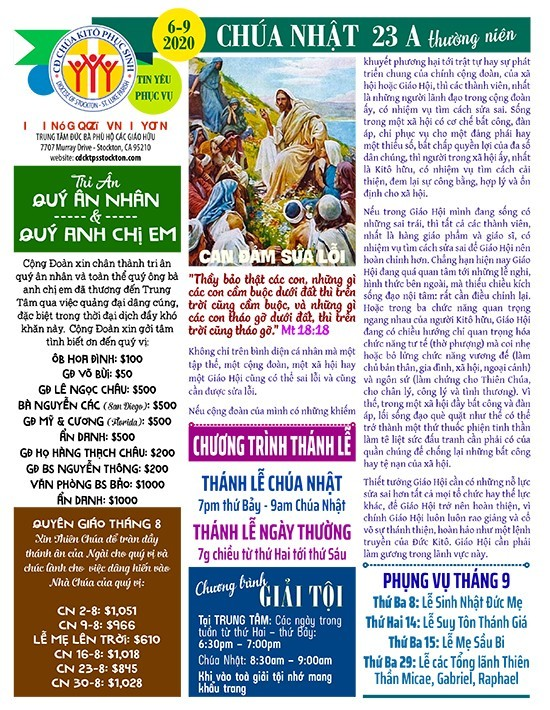 BẢN TIN CỘNG ĐOÀN CHÚA NHẬT TUẦN XXIII THƯỜNG NIÊN NĂM A 06-09-2020