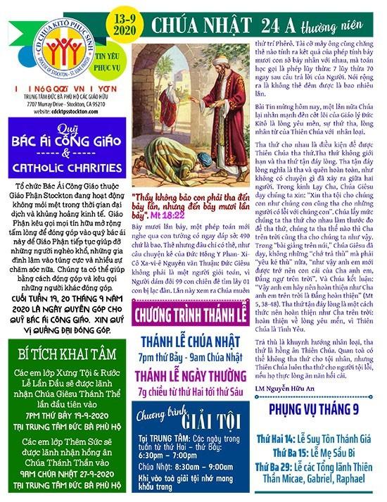 BẢN TIN CỘNG ĐOÀN CHÚA NHẬT TUẦN XXIV THƯỜNG NIÊN NĂM A 13-09-2020