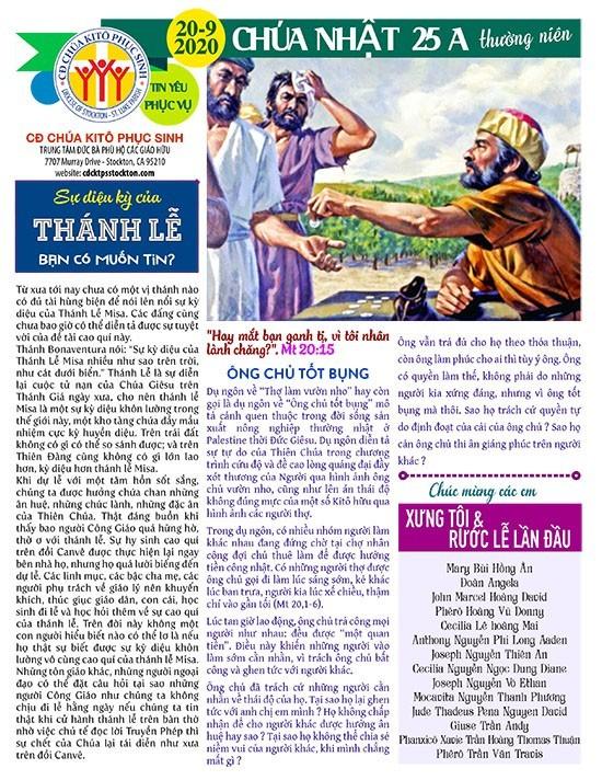 BẢN TIN CỘNG ĐOÀN CHÚA NHẬT TUẦN XXV THƯỜNG NIÊN NĂM A 20-09-2020