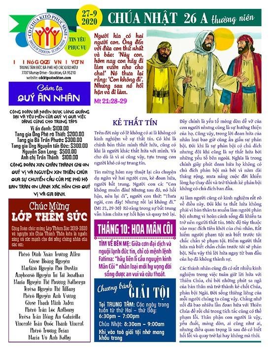 BẢN TIN CỘNG ĐOÀN CHÚA NHẬT TUẦN XXVI THƯỜNG NIÊN NĂM A 27-09-2020