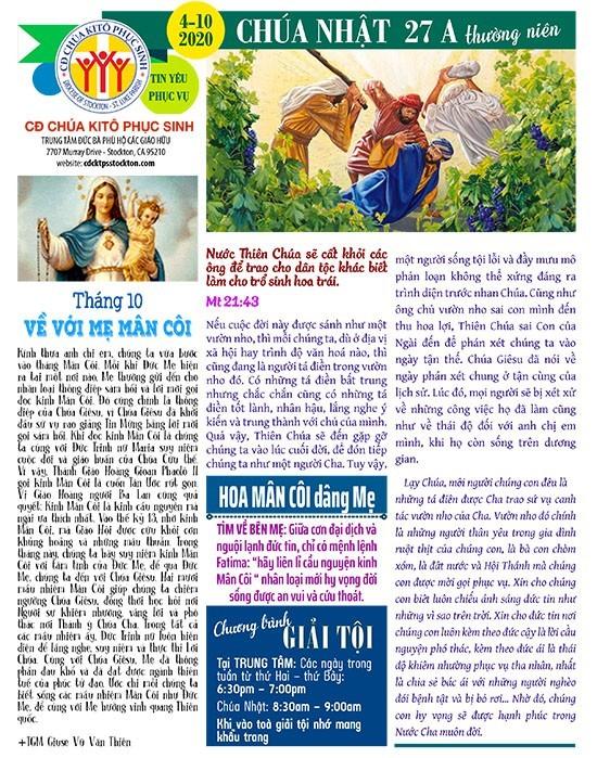 BẢN TIN CỘNG ĐOÀN CHÚA NHẬT TUẦN XXVII THƯỜNG NIÊN NĂM A 04-10-2020