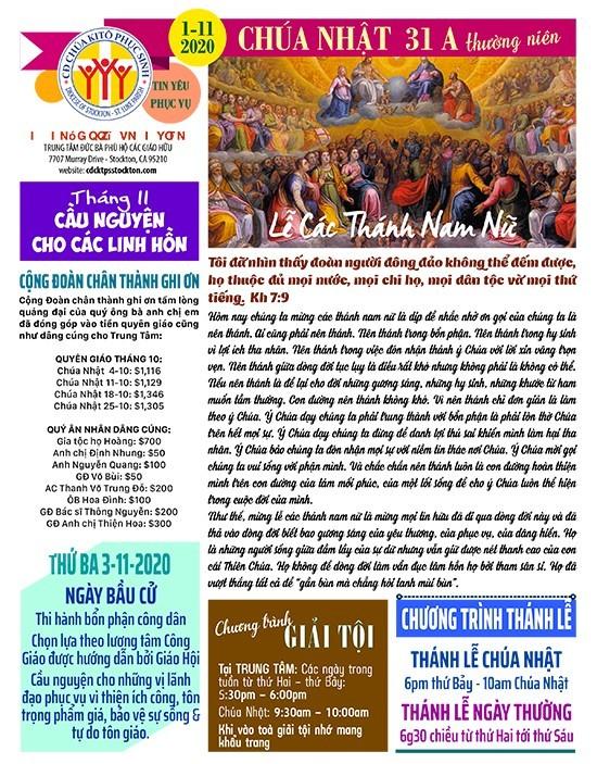 BẢN TIN CỘNG ĐOÀN CHÚA NHẬT TUẦN XXXI THƯỜNG NIÊN NĂM A 01-11-2020