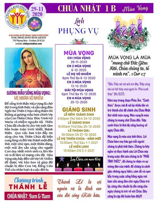 BẢN TIN CỘNG ĐOÀN CHÚA NHẬT TUẦN I MÙA VỌNG NĂM B 29-11-2020