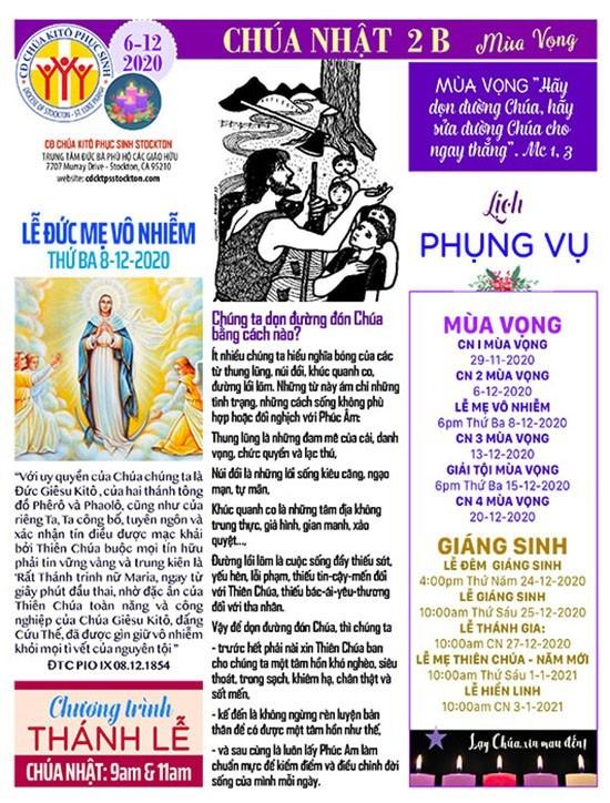 BẢN TIN CỘNG ĐOÀN CHÚA NHẬT TUẦN II MÙA VỌNG NĂM B 06-12-2020