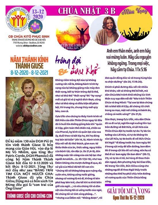 BẢN TIN CỘNG ĐOÀN CHÚA NHẬT TUẦN III MÙA VỌNG NĂM B 13-12-202