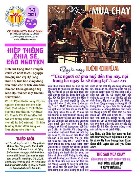 BẢN TIN CỘNG ĐOÀN CHÚA NHẬT III MÙA CHAY NĂM B – 07-03-2021