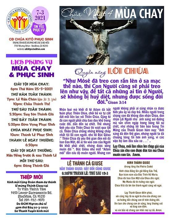 BẢN TIN CỘNG ĐOÀN CHÚA NHẬT IV MÙA CHAY NĂM B – 14-03-2021