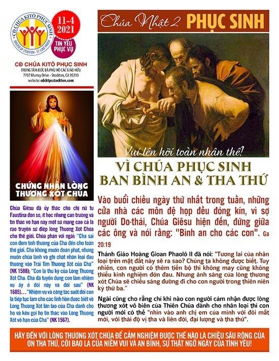 BẢN TIN CỘNG ĐOÀN CHÚA NHẬT II MÙA PHỤC SINH NĂM B – LÒNG CHÚA THƯƠNG XÓT  11-04-2021