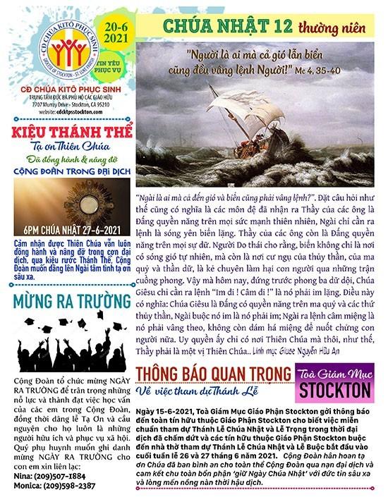 BẢN TIN CỘNG ĐOÀN CHÚA NHẬT XII MÙA THƯỜNG NIÊN NĂM B – 20-06-2021