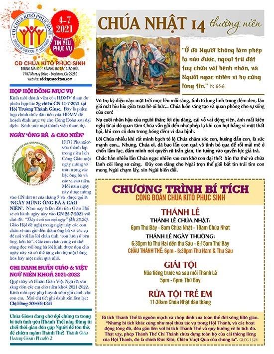 BẢN TIN CỘNG ĐOÀN CHÚA NHẬT XIV MÙA THƯỜNG NIÊN NĂM B – 04-07-2021