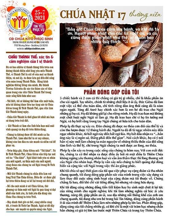 BẢN TIN CỘNG ĐOÀN CHÚA NHẬT XVII MÙA THƯỜNG NIÊN NĂM B – 25-07-2021