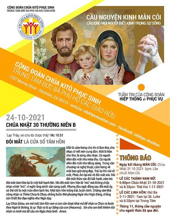 BẢN TIN CỘNG ĐOÀN CHÚA NHẬT XXX MÙA THƯỜNG NIÊN NĂM B 24-10-2021