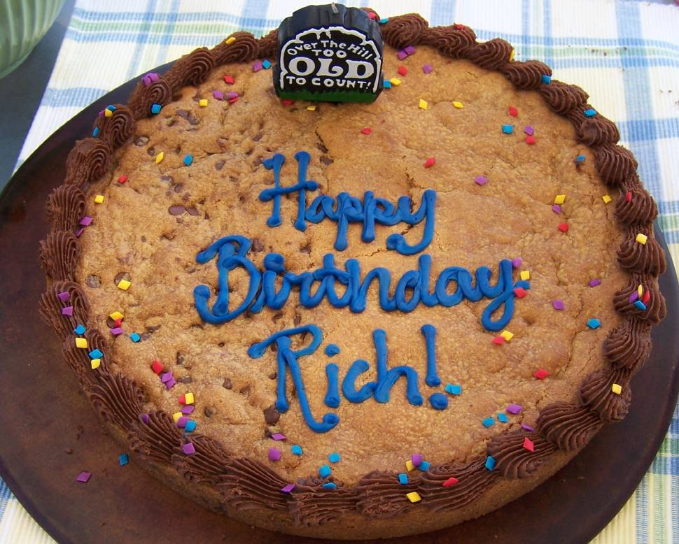 My favorite type of birthday cake, a chocolate chip cookie cake ...